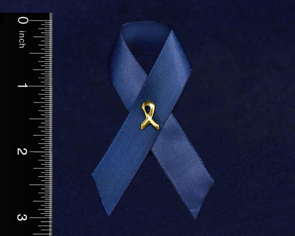 100 Dark Blue Satin Ribbon Awareness Pins (100 Pins) - Fundraising For A Cause
