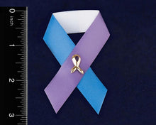 Load image into Gallery viewer, Satin Blue & Purple Ribbon Awareness Pins - Fundraising For A Cause