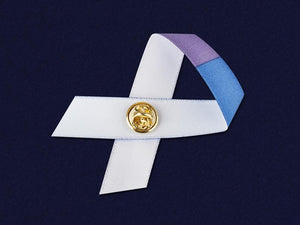 Satin Blue & Purple Ribbon Awareness Pins - Fundraising For A Cause