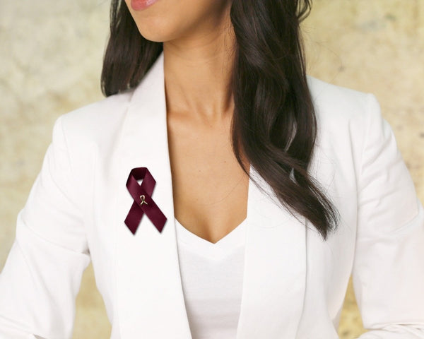100 Satin Multiple Myeloma Awareness Ribbon Pins (100 Pins) - Fundraising For A Cause