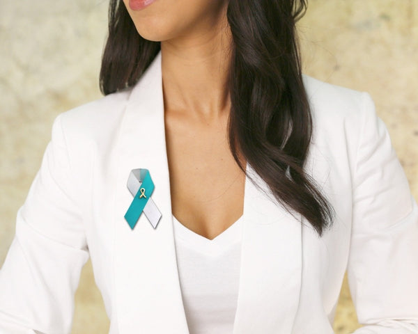 100 Satin Teal & White Ribbon Awareness Pins (100 Pins) - Fundraising For A Cause