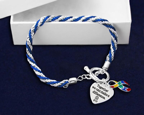 "12 Autism Awareness Bracelets - Rope Style ""Together We Can Make a Difference"" (12 Bracelets) - Fundraising For A Cause"