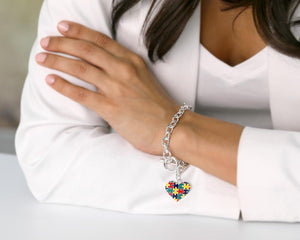 Autism Colored Puzzle Piece Heart Chunky Charm Bracelets - Fundraising For A Cause
