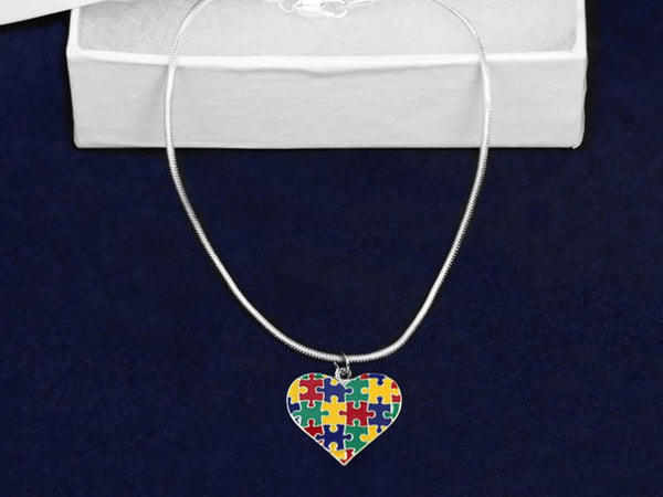 12 Autism Colored Puzzle Piece Heart Necklaces (12 Autism Necklaces) - Fundraising For A Cause
