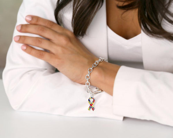 12 Autism Ribbon With Heart Chunky Charm Bracelets (12 Autism Bracelets) - Fundraising For A Cause