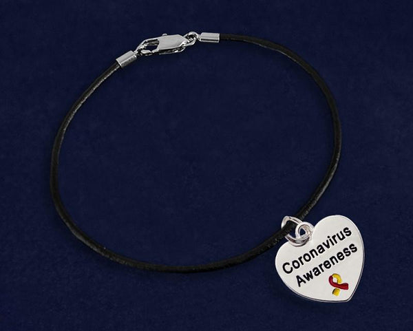 12 Coronavirus (COVID-19) Awareness Leather Cord Bracelets (12 Bracelets) - Fundraising For A Cause