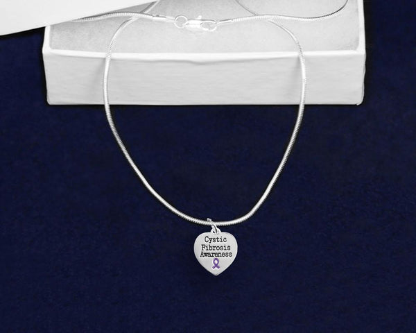 12 Cystic Fibrosis Awareness Heart Necklaces (12 Necklaces) - Fundraising For A Cause