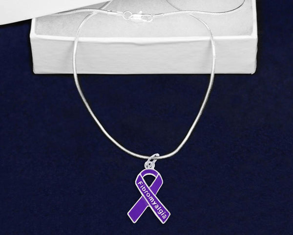 12 Fibromyalgia Awareness Purple Ribbon Necklaces (12 Necklaces) - Fundraising For A Cause