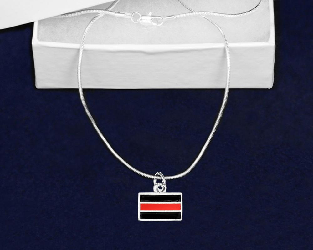 Firefighter Rectangle Red Line Necklaces - Fundraising For A Cause