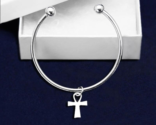 12 Floating Cross Bangle Bracelets (12 Bracelets) - Fundraising For A Cause