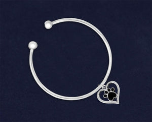 Heart with Black Paw Print Inside Charm Open Bangle Bracelets - Fundraising For A Cause