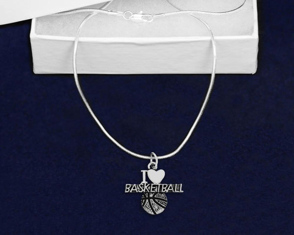 12 I Love Basketball Charm Necklaces (12 Key Necklaces) - Fundraising For A Cause