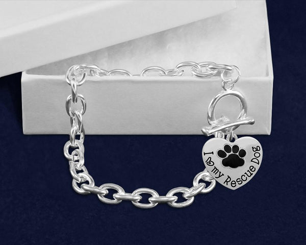 12 I Love My Rescue Dog Chunky Style Link Bracelets (12 Bracelets) - Fundraising For A Cause