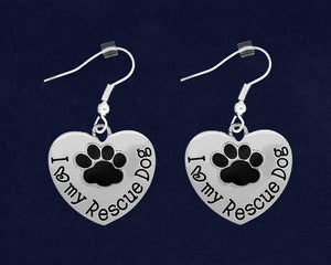 12 I Love My Rescue Dog Heart Earrings (12 Pairs) - Fundraising For A Cause