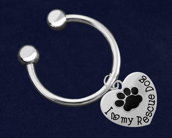 12 I Love My Rescue Dog Key Chains (12 Key Chains) - Fundraising For A Cause