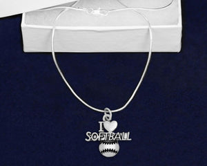 12 I Love Softball Necklaces (12 Necklaces) - Fundraising For A Cause