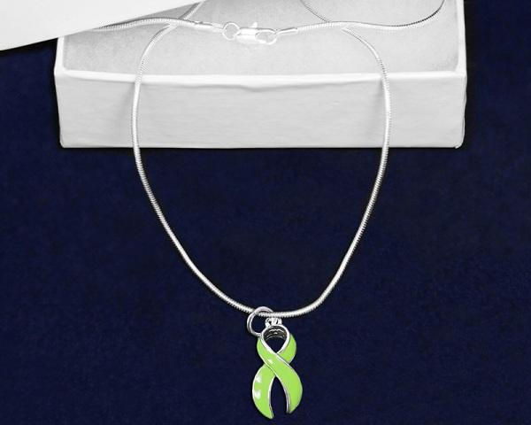 12 Large Lime Green Ribbon Necklaces (12 Necklaces) - Fundraising For A Cause