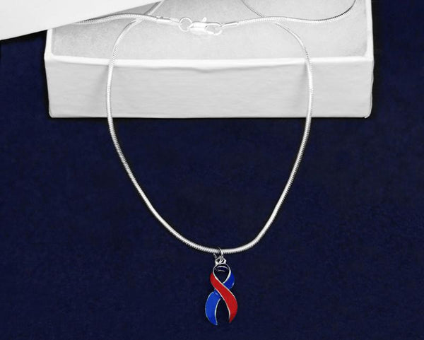 12 Large Red & Blue Ribbon Necklaces (12 Necklaces) - Fundraising For A Cause