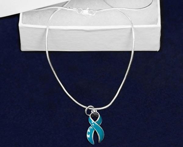 12 Large Teal Ribbon Necklaces (12 Necklaces) - Fundraising For A Cause