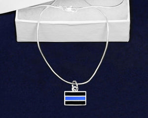 Law Enforcement Rectangle Blue Line Necklaces - Fundraising For A Cause