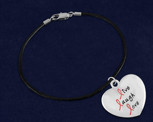 12 Live Laugh Love Pink Ribbon Charm Black Leather Cord Bracelets (12 Bracelets) - Fundraising For A Cause