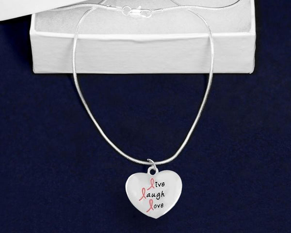 12 Live Laugh Love Pink Ribbon Heart Charm Necklaces (12 Necklaces) - Fundraising For A Cause