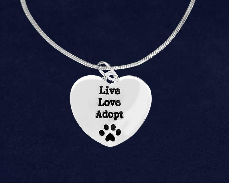 Live Love Adopt Heart Necklaces - Fundraising For A Cause