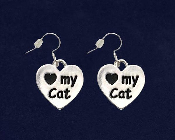 12 Love My Cat Heart Earrings (12 Pairs) - Fundraising For A Cause