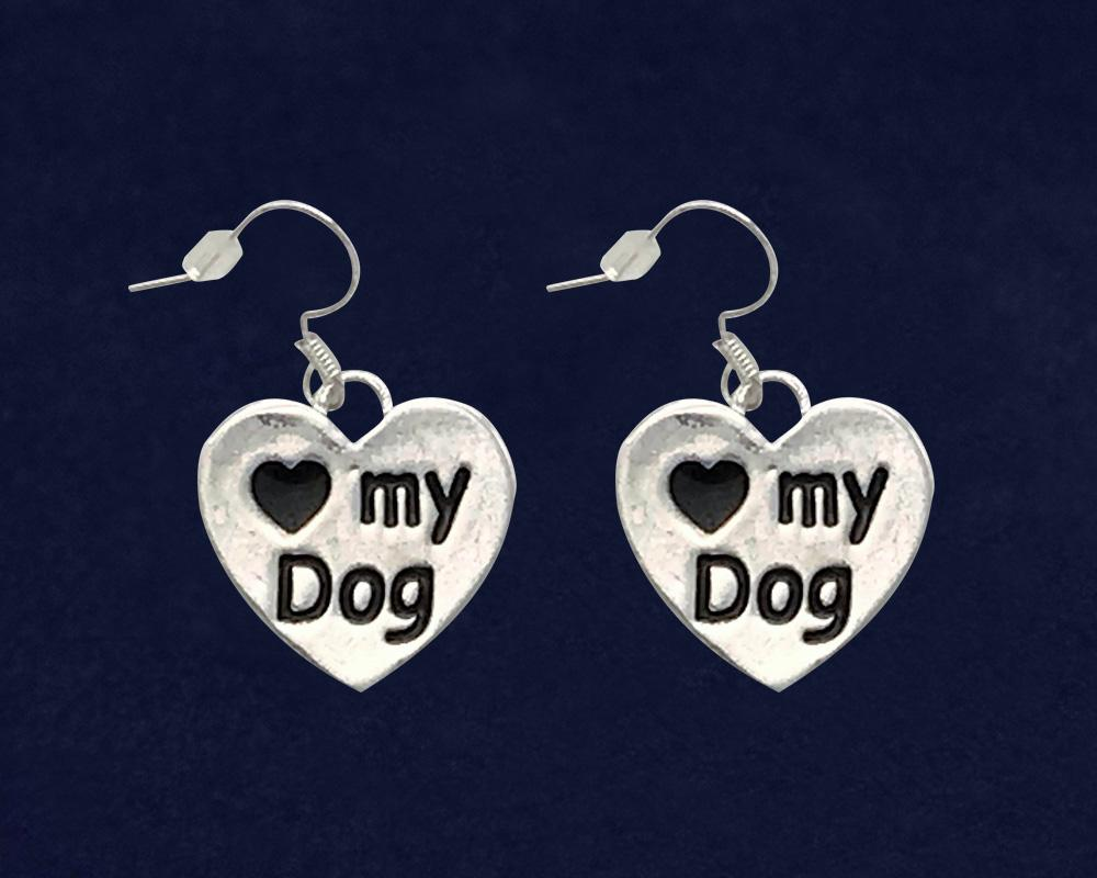 12 Love My Dog Heart Earrings (12 Pairs) - Fundraising For A Cause