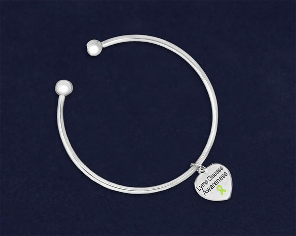 12 Lyme Disease Awareness Heart Charm Open Bangle Bracelets (12 Bracelets) - Fundraising For A Cause