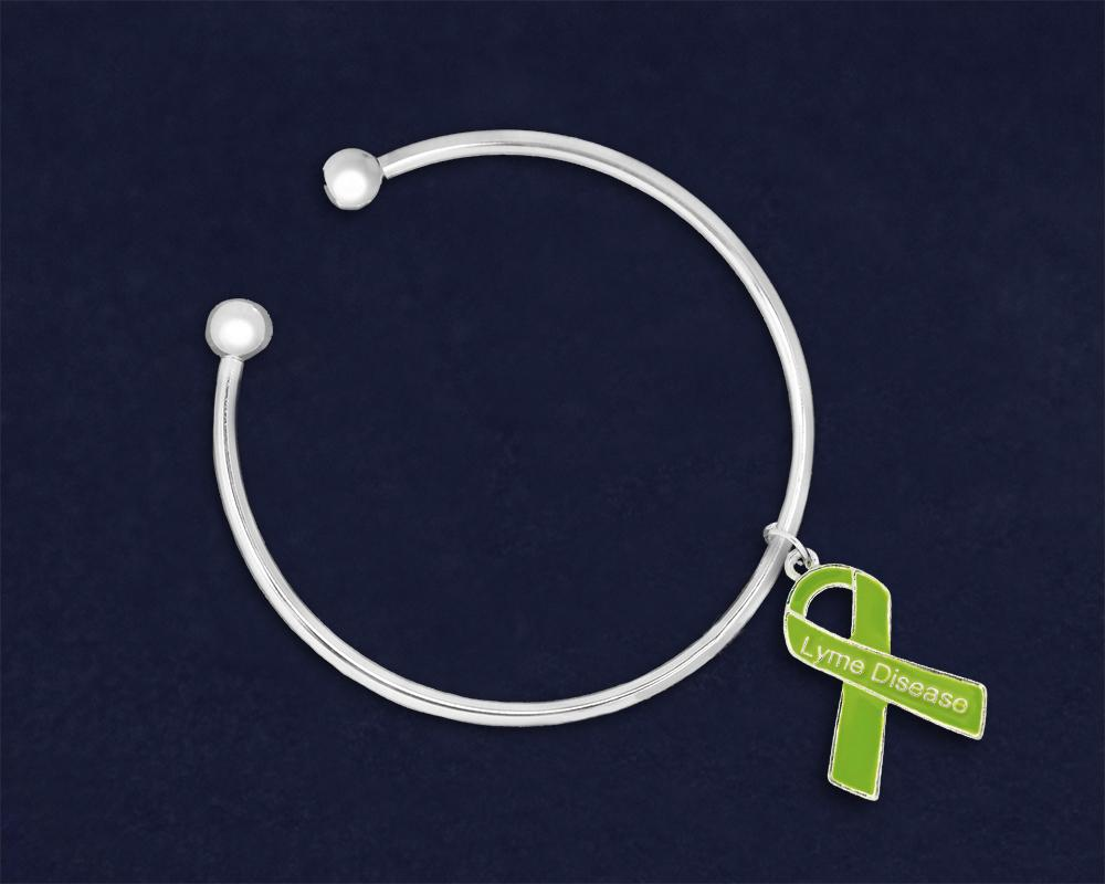 Lyme Disease Awareness Ribbon Charm Open Bangle Bracelets - Fundraising For A Cause
