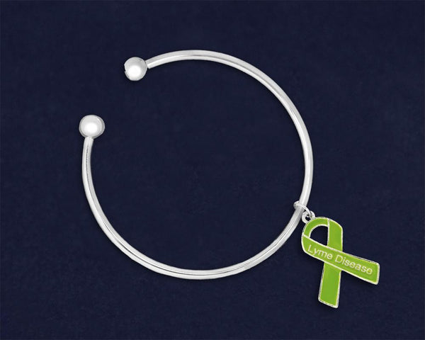 12 Lyme Disease Awareness Ribbon Charm Open Bangle Bracelets (12 Bracelets) - Fundraising For A Cause
