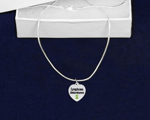 12 Lymphoma Awareness Heart Necklaces (12 Necklaces) - Fundraising For A Cause