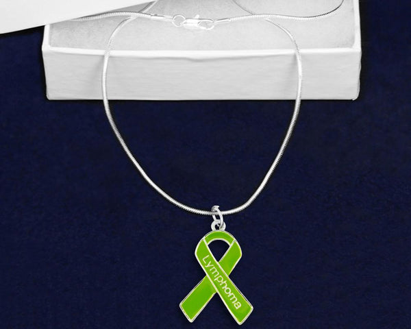 12 Lymphoma Lime Green Ribbon Necklaces (12 Necklaces) - Fundraising For A Cause