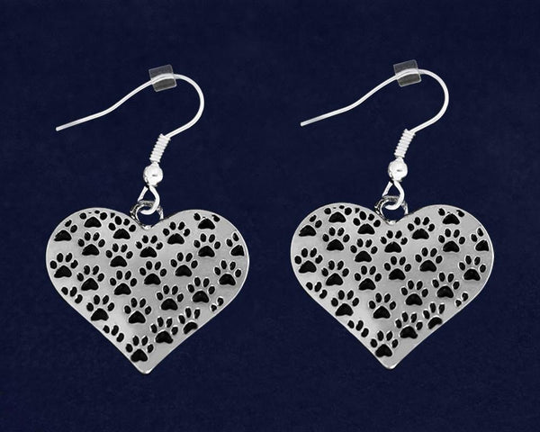 12 Multi Paw Print Heart Earrings (12 Pairs) - Fundraising For A Cause