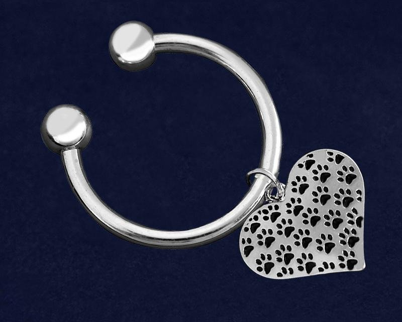 Multi Paw Print Heart Key Chains - Fundraising For A Cause