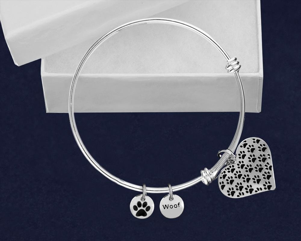 Multi Paw Print Pattern Retractable Charm Bracelets - Fundraising For A Cause