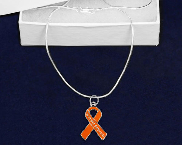 12 Multiple Sclerosis Orange Ribbon Necklaces (12 Necklaces) - Fundraising For A Cause