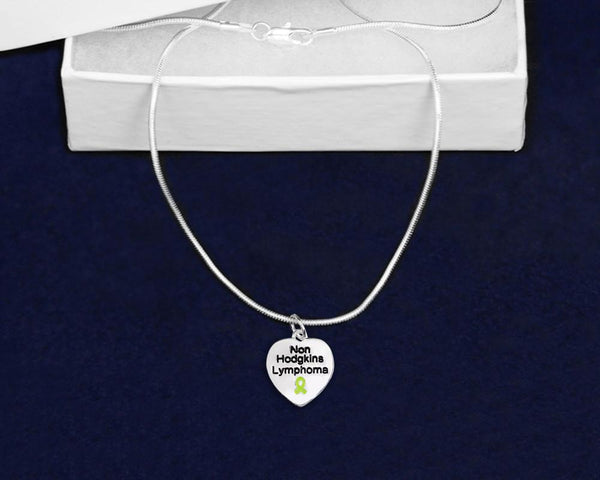 12 Non-Hodgkin's Lymphoma Awareness Heart Necklaces (12 Necklaces) - Fundraising For A Cause