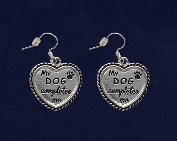 12 Pairs of My Dog Completes Me Heart Earrings (12 Pairs) - Fundraising For A Cause