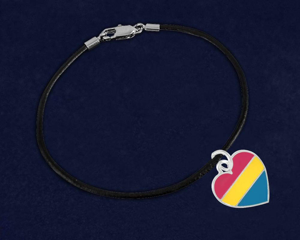Pansexual Heart Leather Cord Bracelets - Fundraising For A Cause