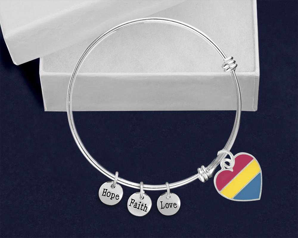 Pansexual Heart Retractable Charm Bracelets - Fundraising For A Cause