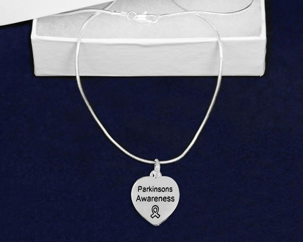 12 Parkinson's Disease Awareness Heart Necklaces (12 Necklaces) - Fundraising For A Cause
