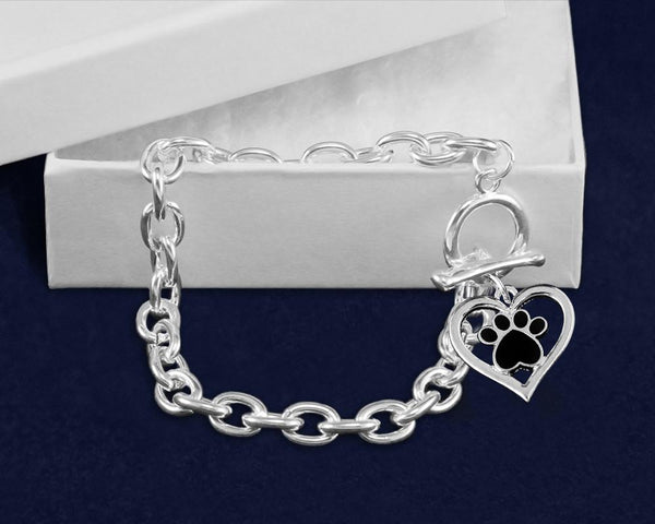 12 Paw Print Inside Heart Chunky Style Link Bracelets (12 Bracelets) - Fundraising For A Cause