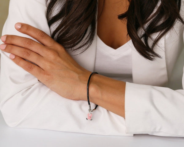 12 Pink Ribbon Leather Cord Bracelets (12 Bracelets) - Fundraising For A Cause