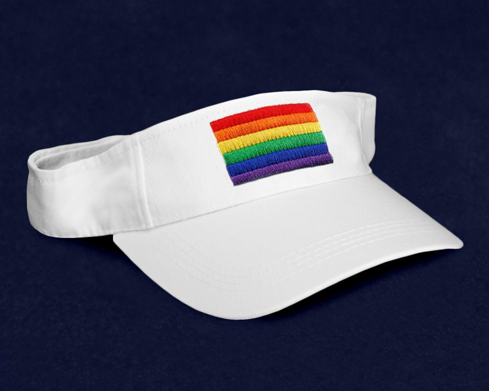 12 Rectangle Rainbow Visors in White (12 Visors) - Fundraising For A Cause