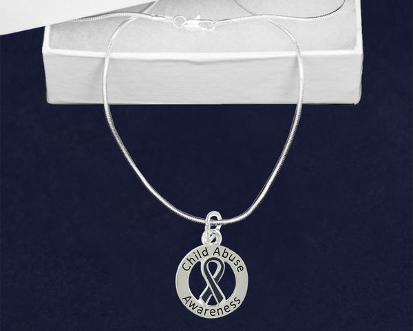 12 Round Child Abuse Awareness Ribbon Necklaces (12 Necklaces) - Fundraising For A Cause