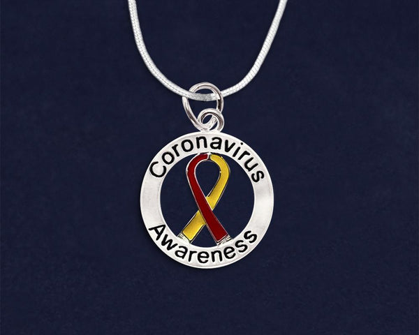 12 Round Coronavirus (COVID-19) Awareness Ribbon Necklaces (12 Necklaces) - Fundraising For A Cause