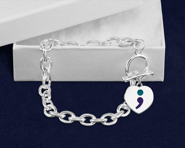 12 Semicolon Suicide Prevention Awareness Chunky Charm Bracelets (12 Bracelets) - Fundraising For A Cause