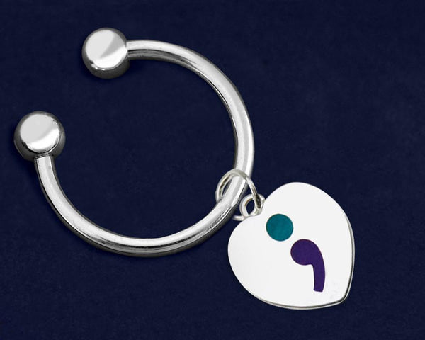 12 Semicolon Suicide Prevention Awareness Heart Key Chains (12 Key Chains) - Fundraising For A Cause